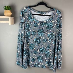 LOGO gray and blue floral top size XL